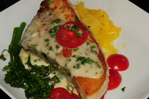 Swordfish with Poblano Cream Sauce over Spaghetti Squash